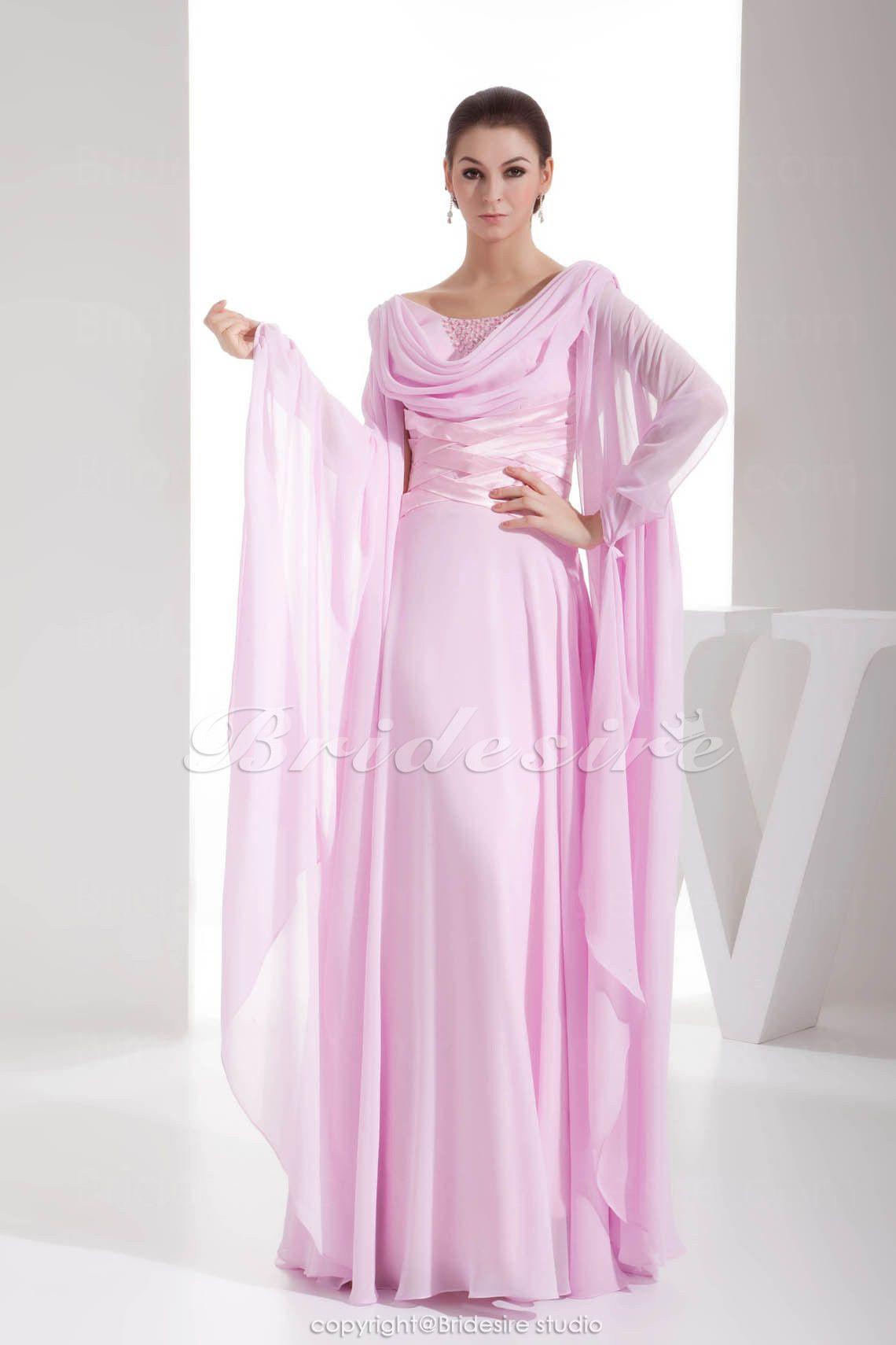 Tubino A V Raso terra Maniche lunghe Chiffon vestito | elbise abiye ...