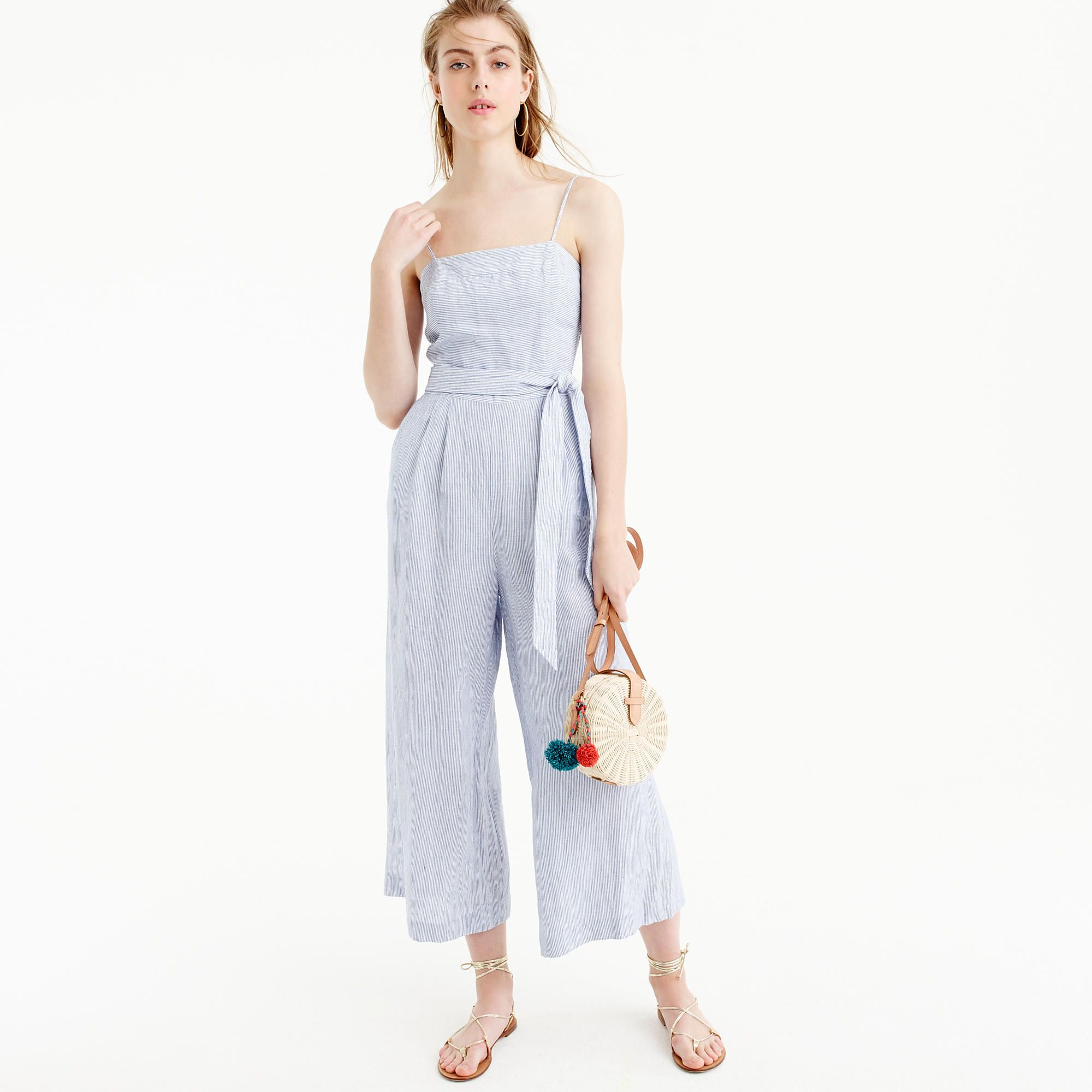 da829bd19606 Striped linen jumpsuit with tie