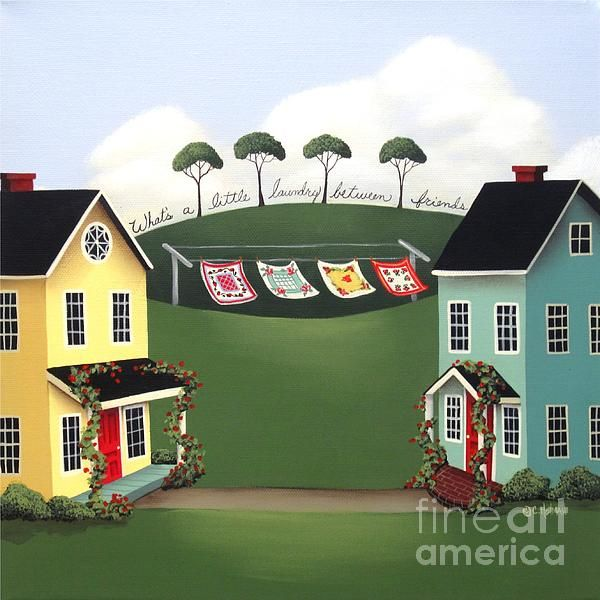 Laundry Between Friends Painting by Catherine Holman