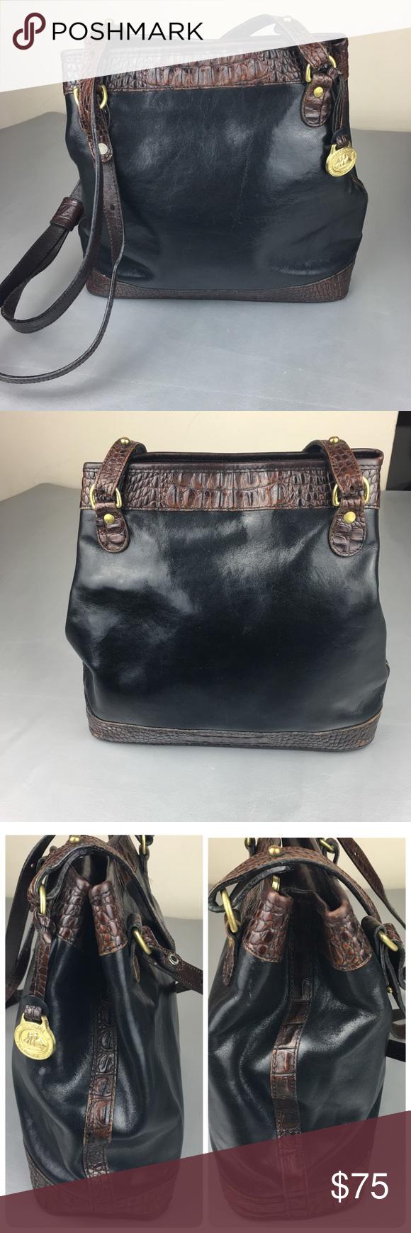 4c148c35882e Vintage Brahmin black leather bucket bag Vintage Authentic Brahmin black  leather bucket bag. Has brown