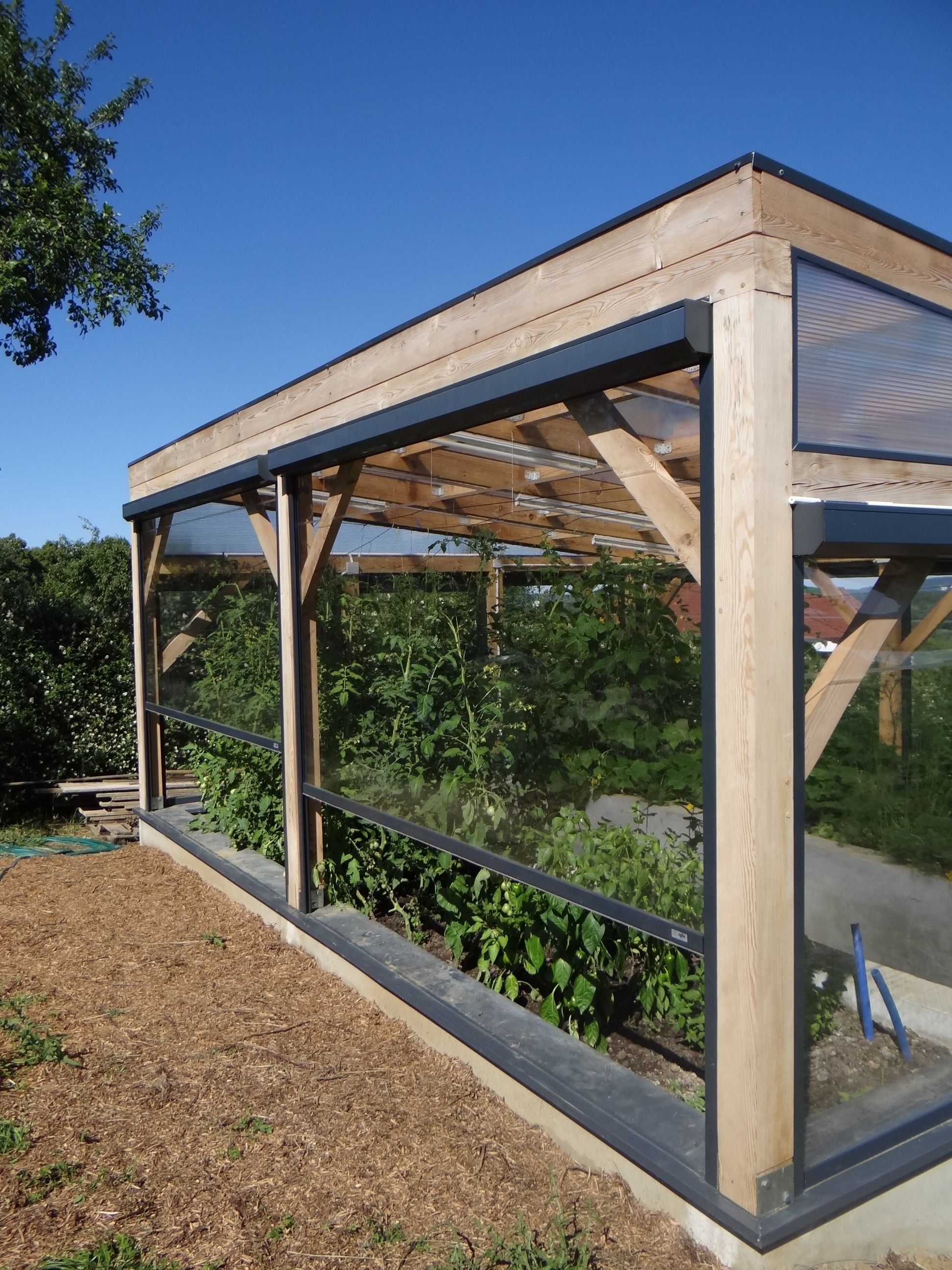 Exterior Roller Blind With Zip System And With Transparent Foil Use In  Greenhouse.