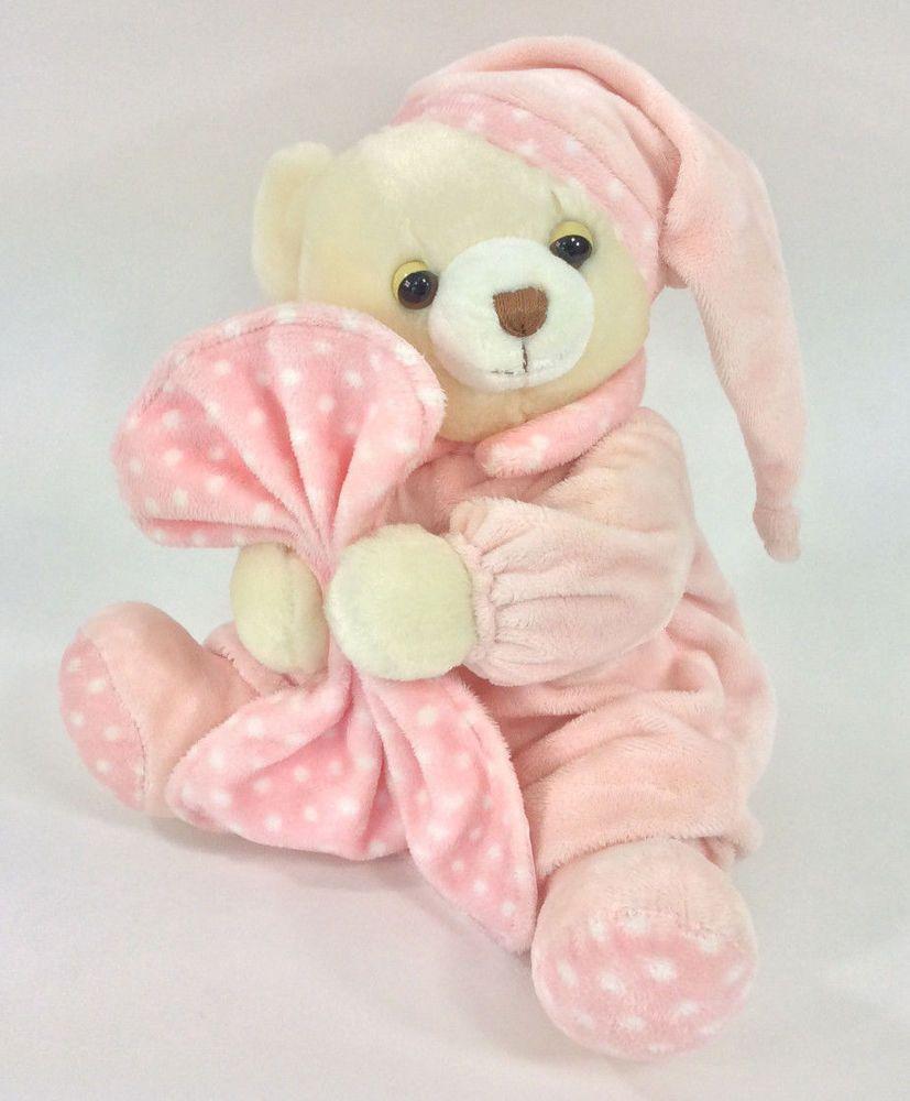 Aurora Teddy Bear Pink Blanket Plush Polka Dot Baby Stuffed Animal