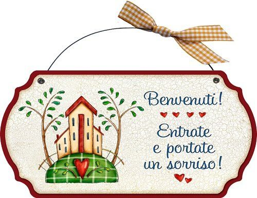 Targhetta sagomata in legno con ferretto benvenuti entrate e portate un sorriso idea regalo - Idee regalo casa nuova ...