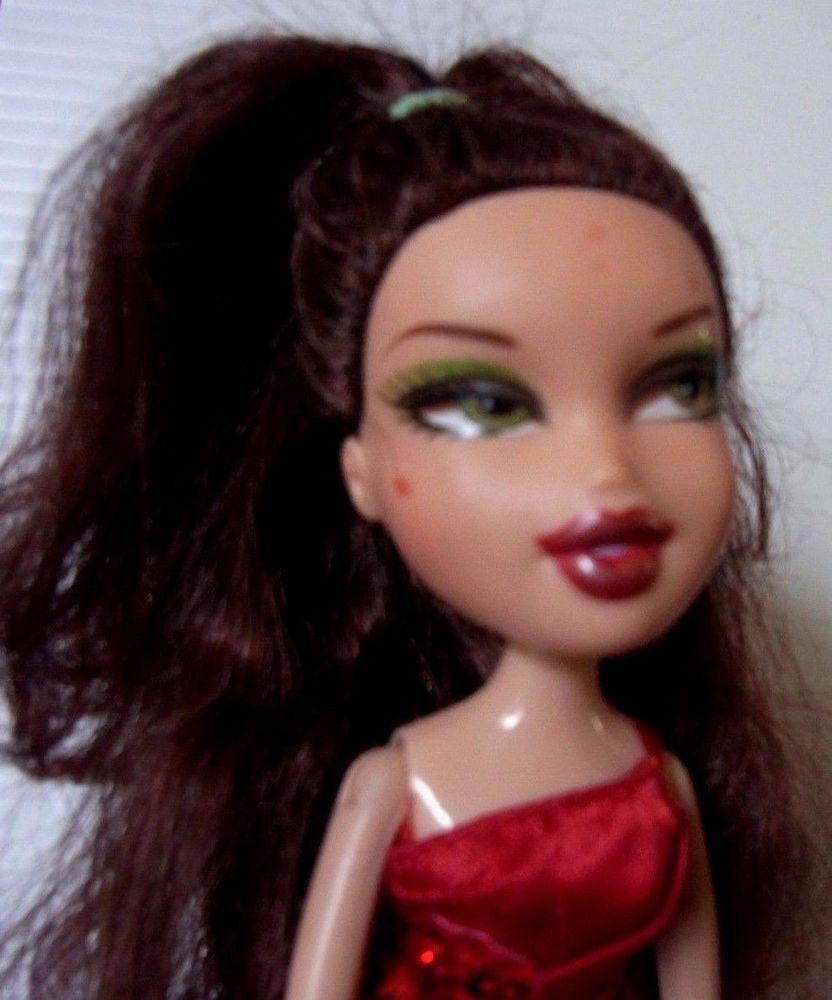 Bratz Doll Dark Brown Long Hair Red Dress And High Heels Dark Brown Long Hair Long Brown Hair Red Hair