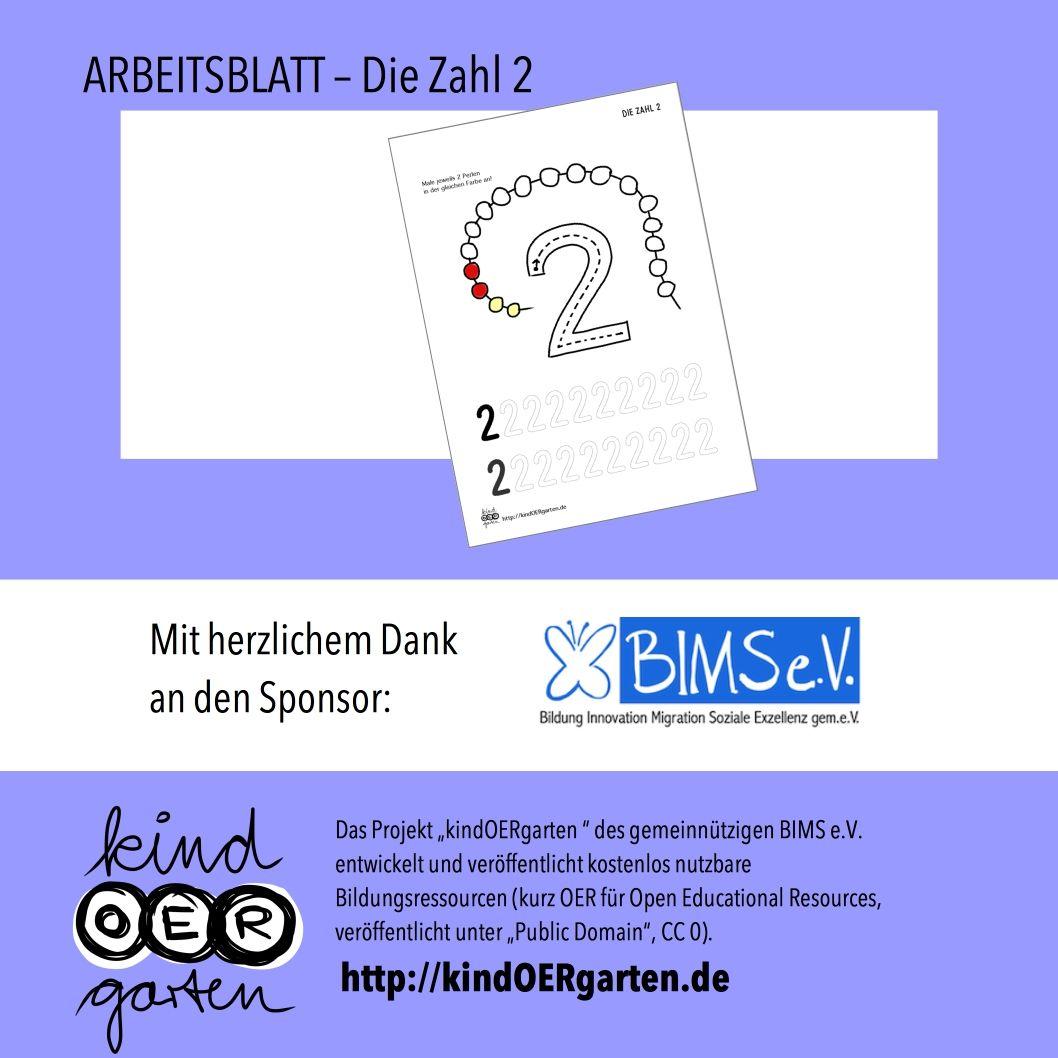 """Arbeitsblatt für Kinder: Die Zahl """"2"""""""