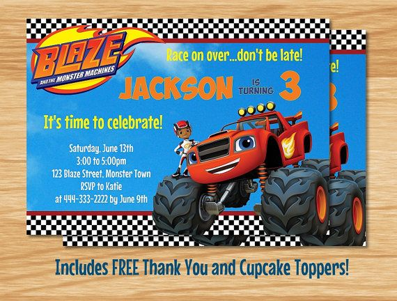 Blaze And The Monster Machines Birthday Party Theme Invitations Personalized Invites In 2019