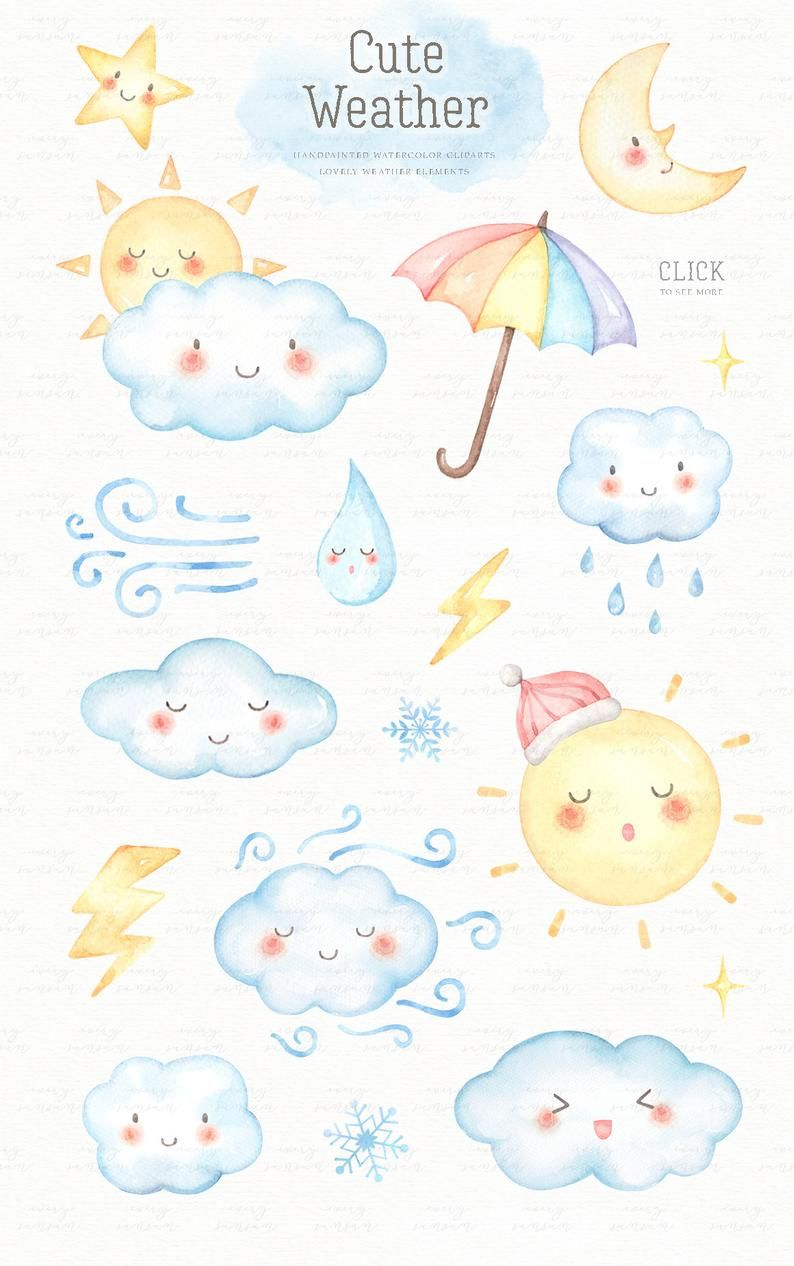 Cute Weather Watercolor Clip Arts Sun Moon Star Baby Etsy Kids Clipart Kids Cartoon Characters Watercolor Clipart