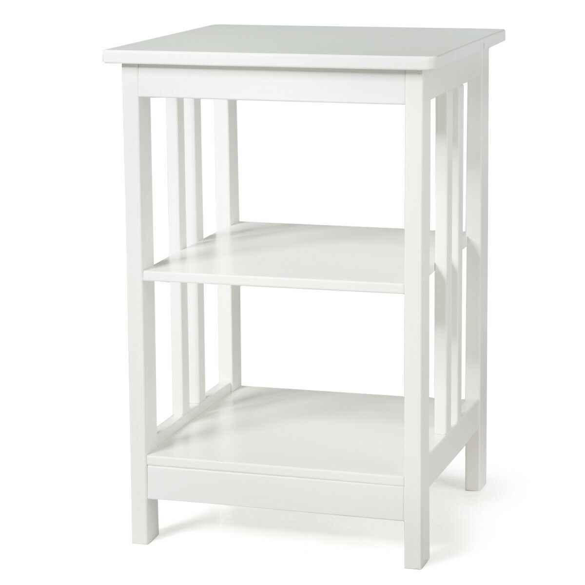 3 Tier Nightstand Side Table With Baffles And Corners White Sofa End Tables White Side Tables Square Side Table