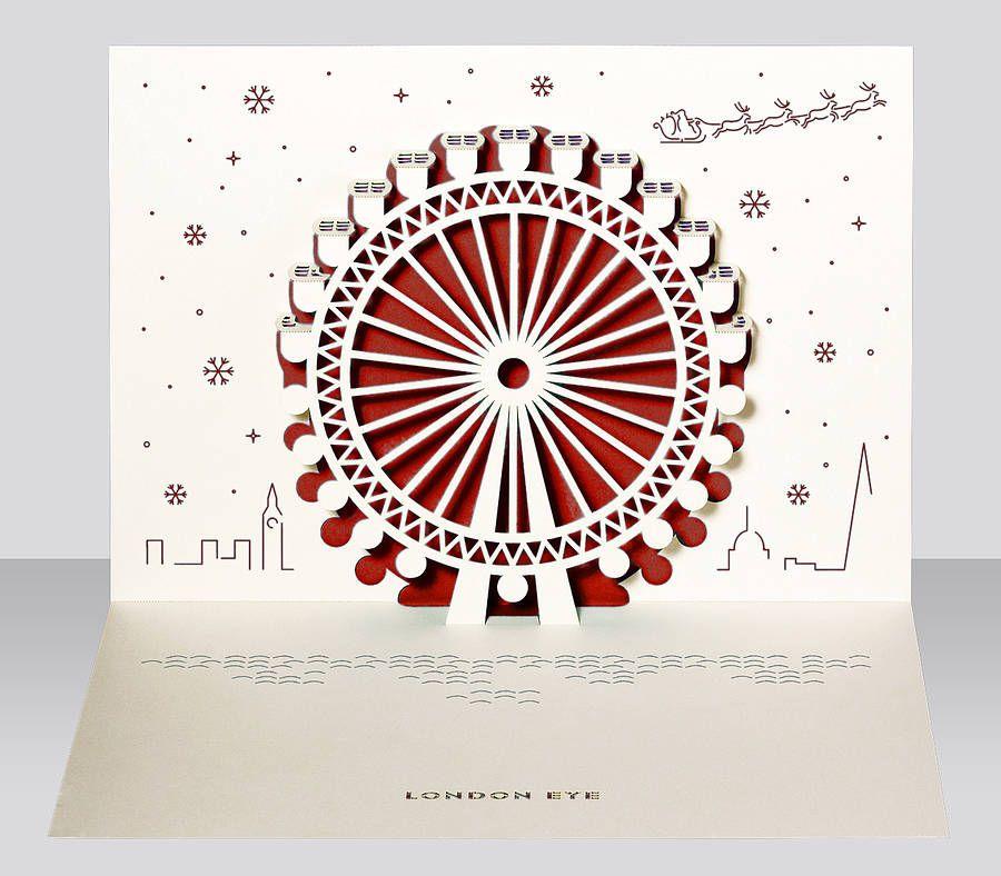 London Eye Pop Up Christmas Card Christmas Card Packs Diy Holiday Cards Christmas Pops