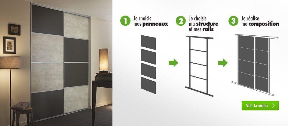 Porte De Placard à Composer Soimême Leroy Merlin Aménagement - Porte placard coulissante avec portes interieures vitrees modernes