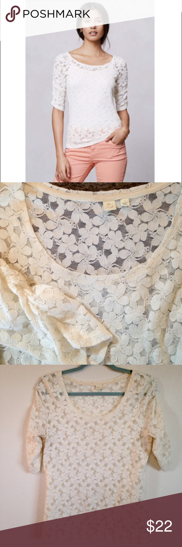 Anthropologie Eloise Brushed Lace Pullover Top So pretty! Ivory brushed lace Anthro top with shirred half sleeves. Size L. Note: very sheer (see close-up). Model is wearing a cami under, but that's your call😉 Anthropologie Tops