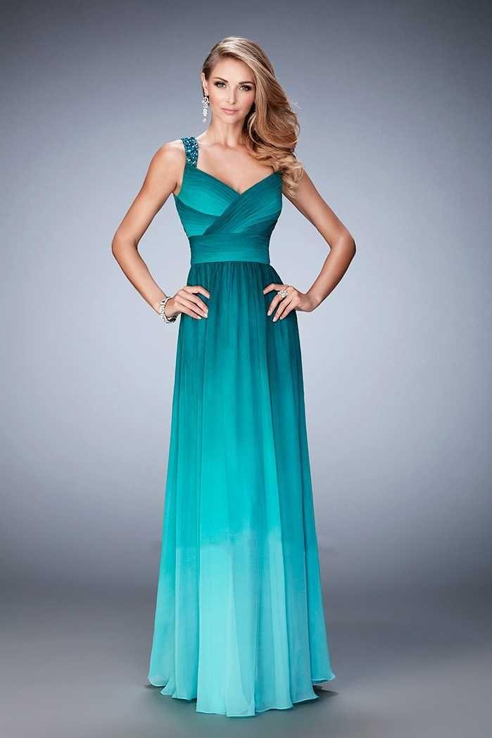 Beaded Straps La Femme 22432 Ombre Jade Prom Dresses  feb8df1beb4a