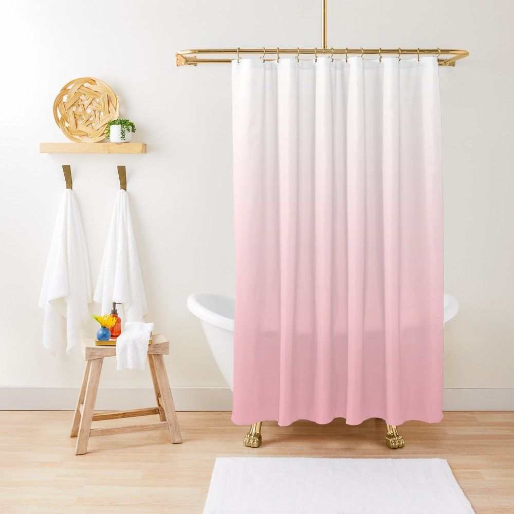 Simple White To Light Pink Modern Gradient Shower Curtain By
