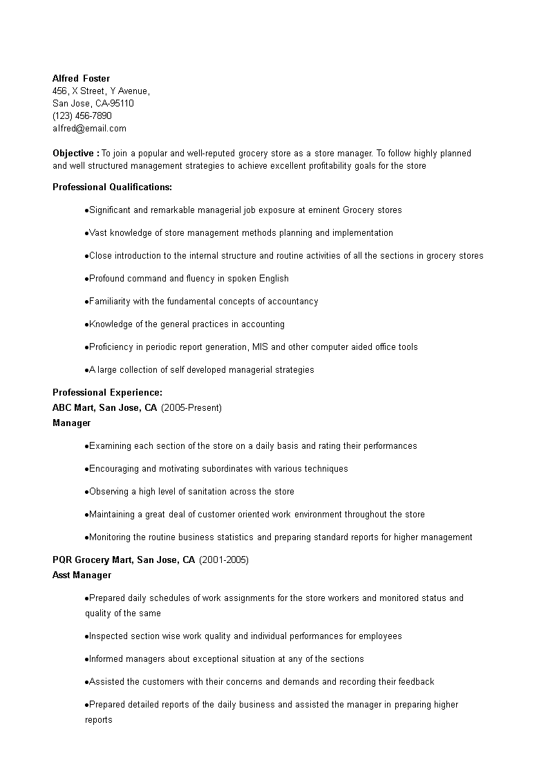 Grocery Store Manager Resume How To Create A