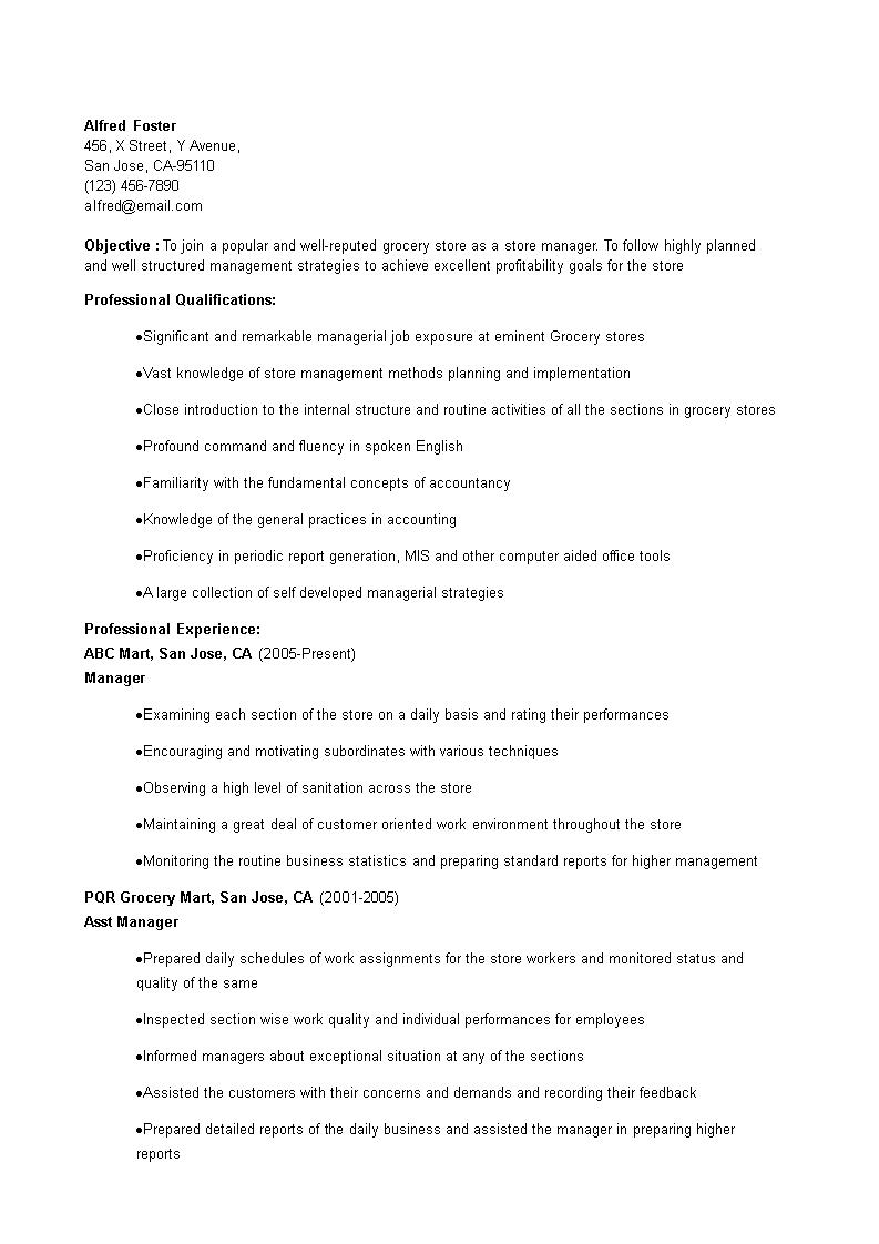 grocery clerk resume template