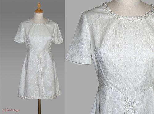 Twiggy Wedding Dress Short Silver White Hippie By HalloVintage