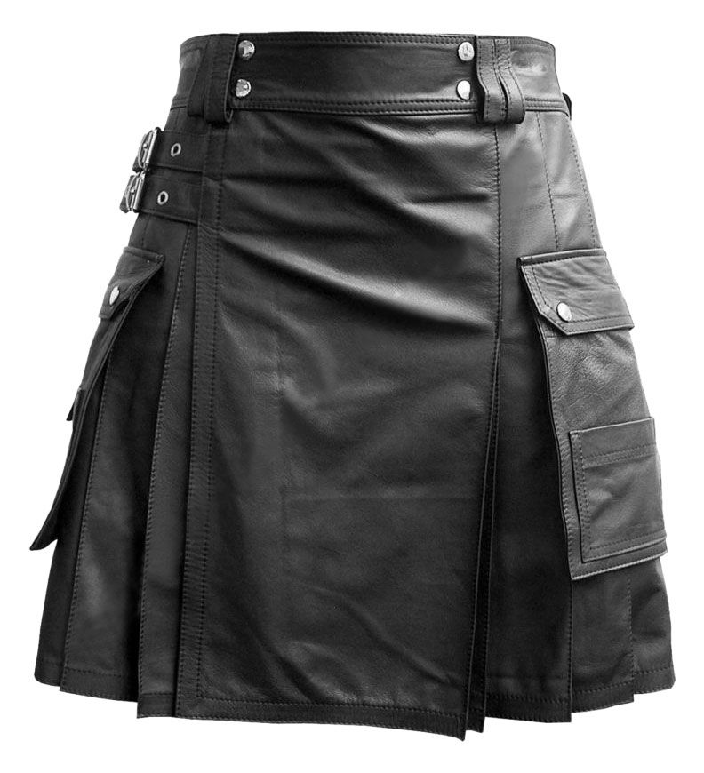 Real Mens BLACK Leather Gladiator Pleated Kilt FLAT FRONT Pocket Wrap Style