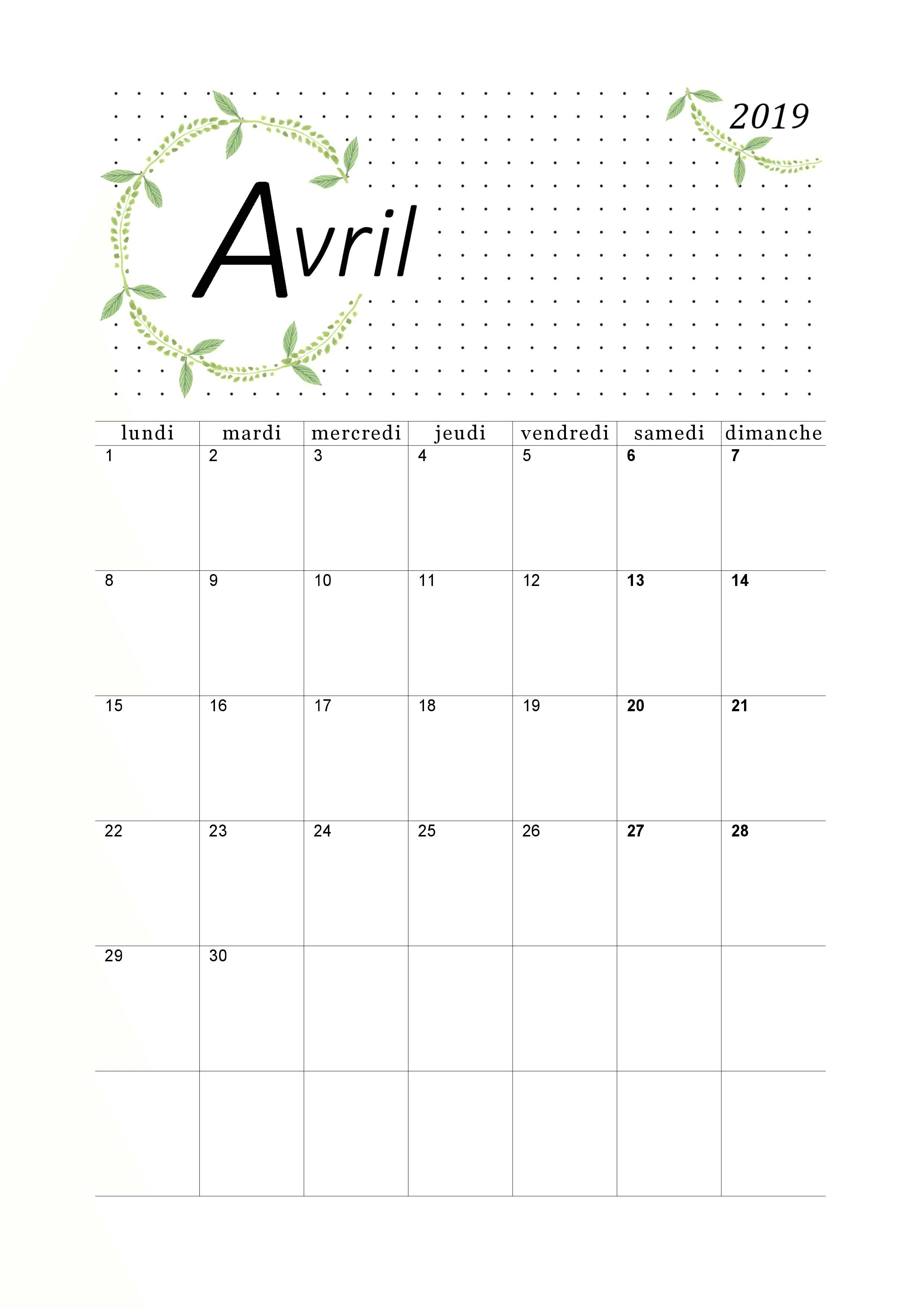 Calendrier 2019 mensuel à imprimer. | Calendrier imprimable