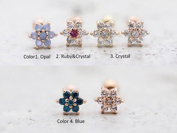 labradorite cartilage stud earring  gemstone piercing jewelry  gemstone tragus stud  helix earring stud