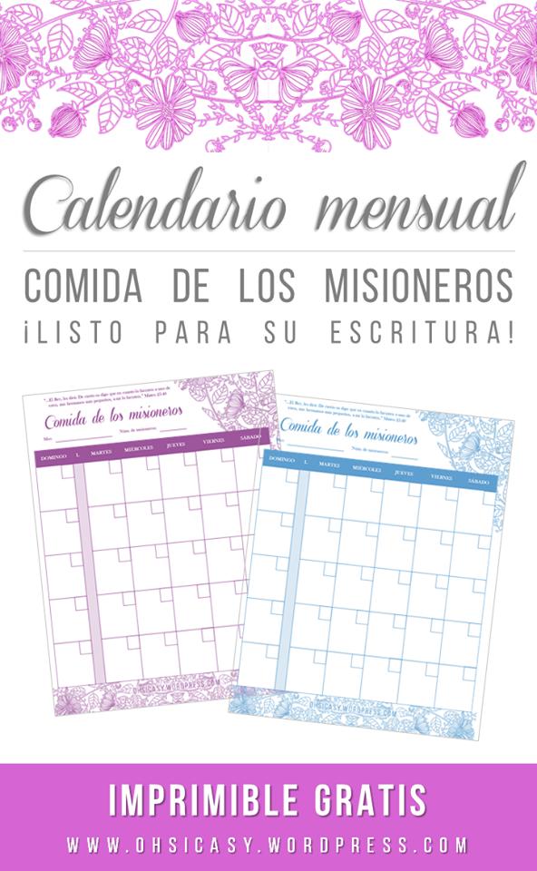 Calendario mensual para las comidas de los misioneros: Imprimible ...