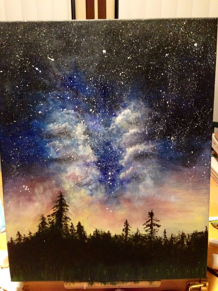 Original acrylic galaxy painting painted by dfletcher89 for How to paint galaxy