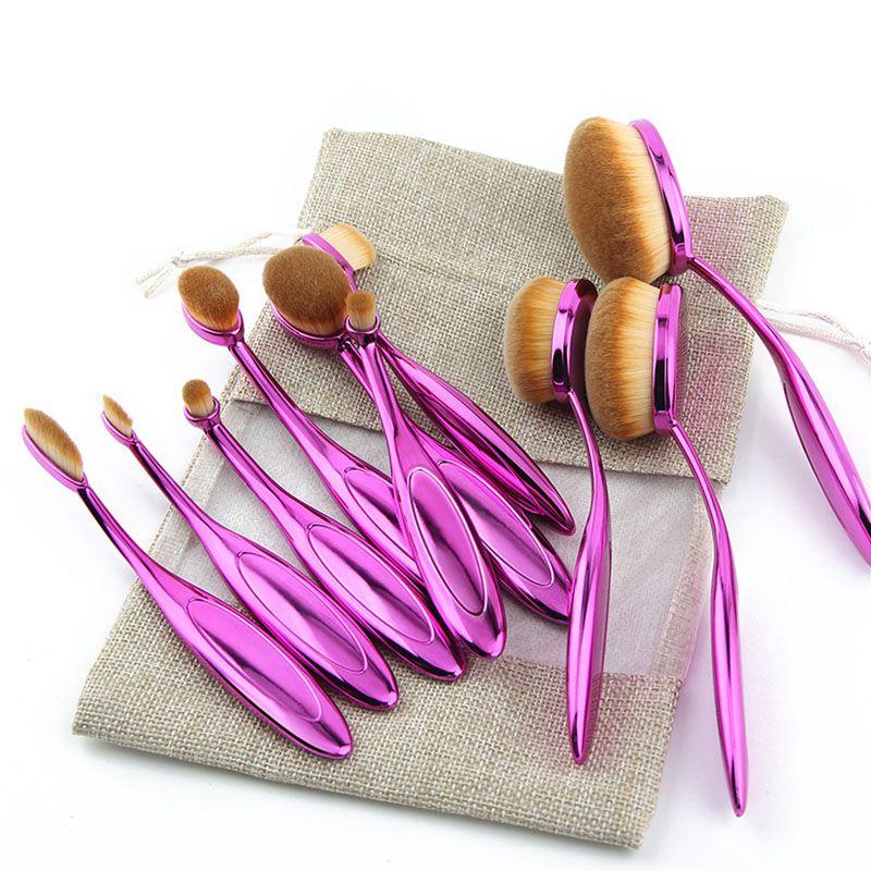 Rose Gold 10 pcs/5 pcs Tooth Brush Shape Oval Makeup Brush Set MULTIPURPOSE Professional Foundation Powder Brush Kit with Bag