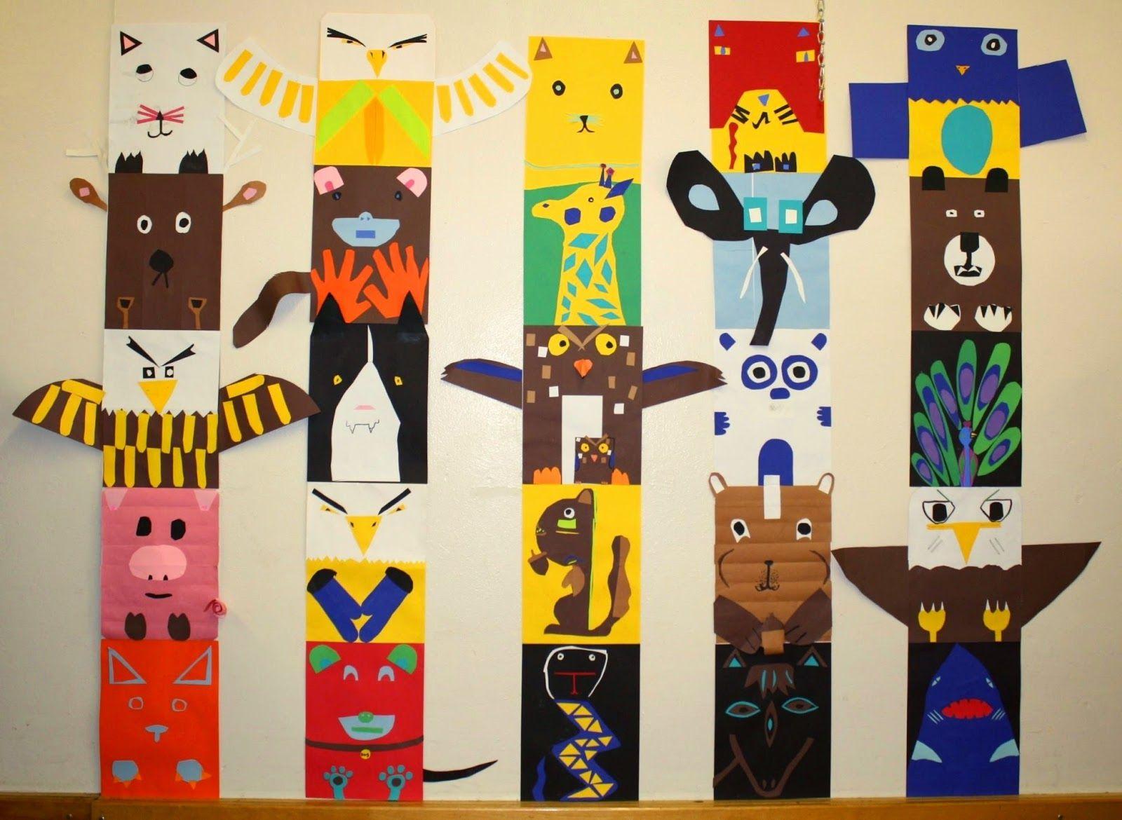 4th grade totem pole animals!   Totem pole art, Pole art