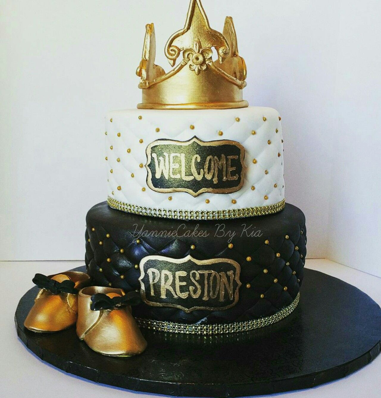 Royal Black And Gold Baby Shower Cake Yanniecakes.com