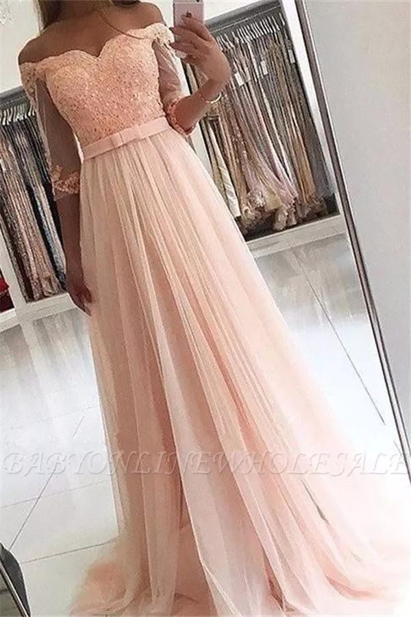 Designer Abendkleider Lang Rosa Spitze Abendkleid Mit Armel Long Sleeve Evening Dresses Prom Dresses Lace Prom Dresses