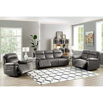 Atticus 3 Piece Leather Set With Power Recline Headrest And Lumbar Top Grain Leather Sofa Power Reclining Loveseat Reclining Furniture