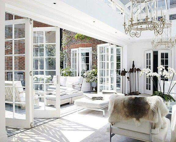 Indoor Outdoor Living Folding French Doors To Back Patio