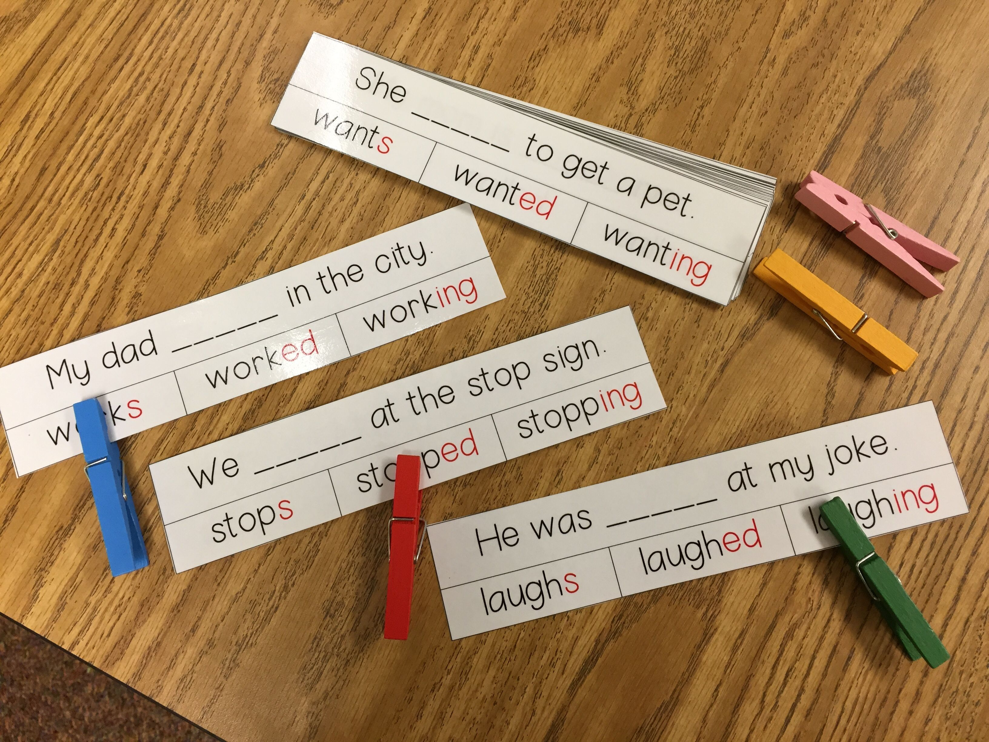 hight resolution of Inflectional Word Endings Clip Cards