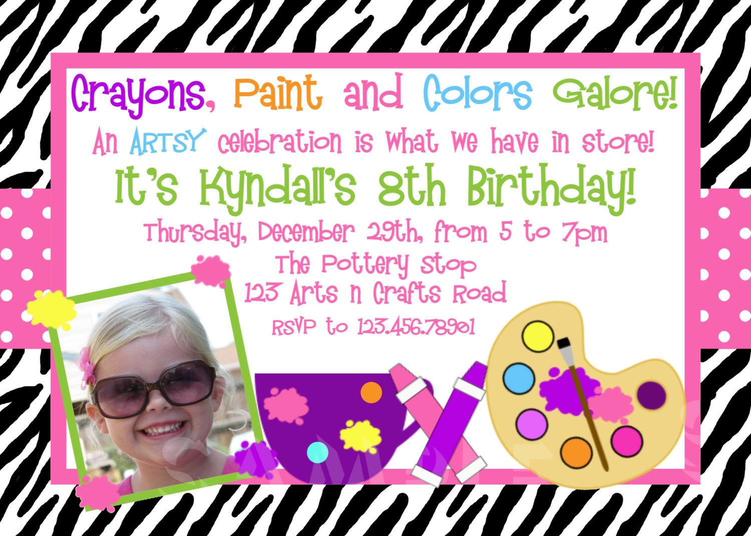 Free Arts and Crafts Birthday Party Invitations Download this ...