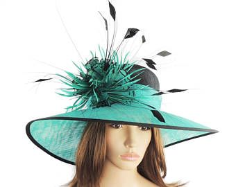 Black and Jade Green Hat for Weddings 2e783f00014