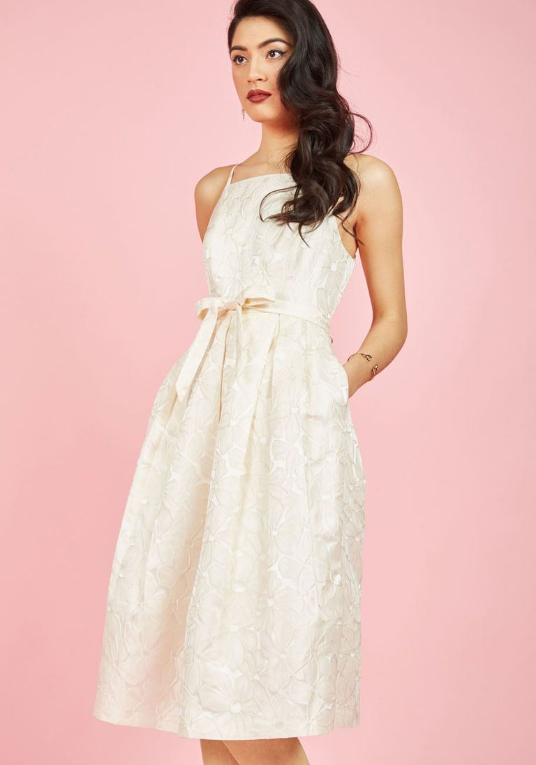 Wedding ivory dress  Penchant for Opulence ALine Dress in Ivory Daisies  Ivory Dress