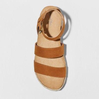 e438fb02b90775 Women s Agnes Wide Width Quarter Strap Espadrille Flatform Sandals - Universal  Thread Cognac (Red)