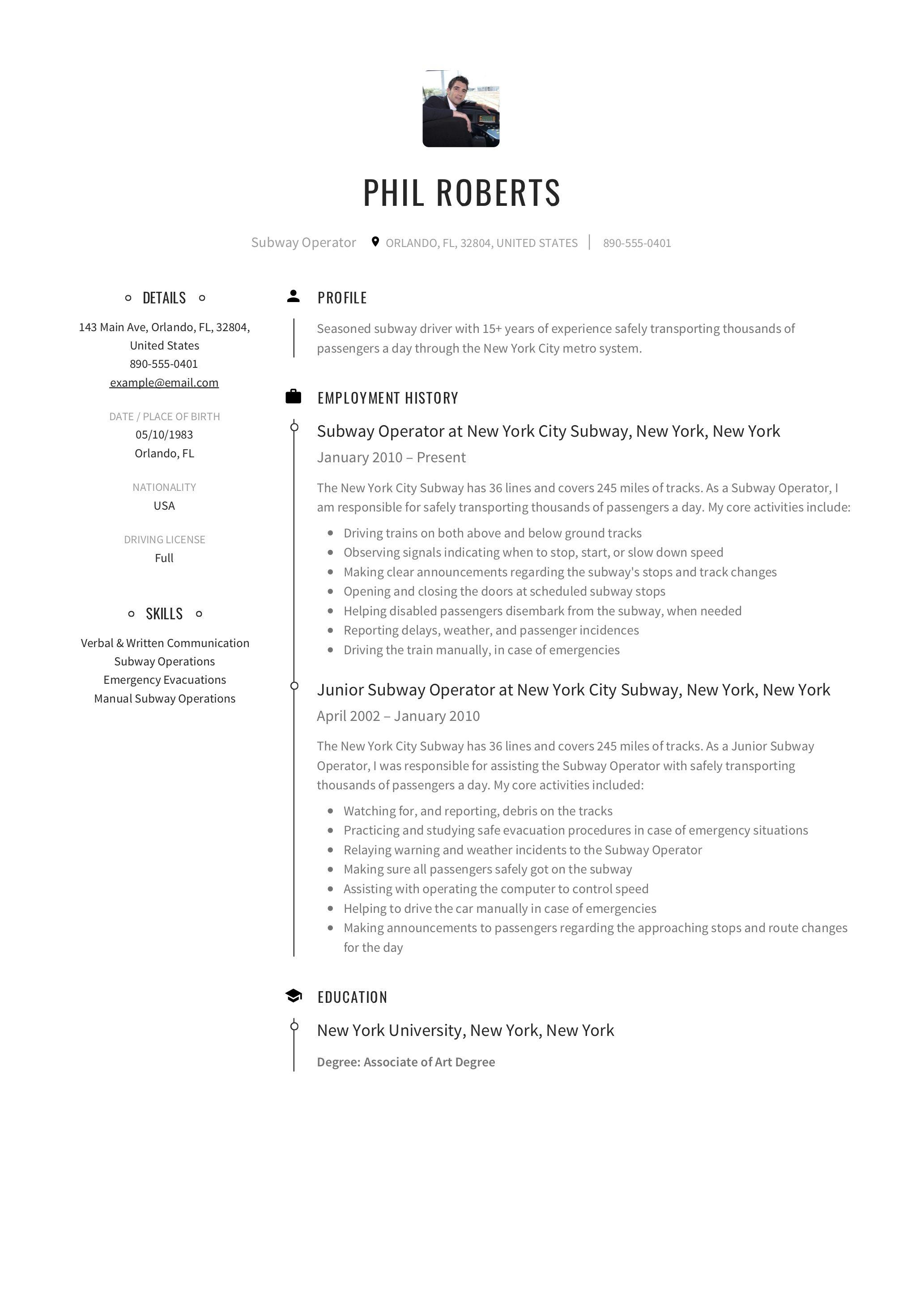 Subway Operator Resume Sample Resume Resume Guide Subway
