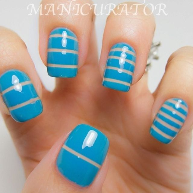 Neat stripes manicure using striping tape technique nail art design ...