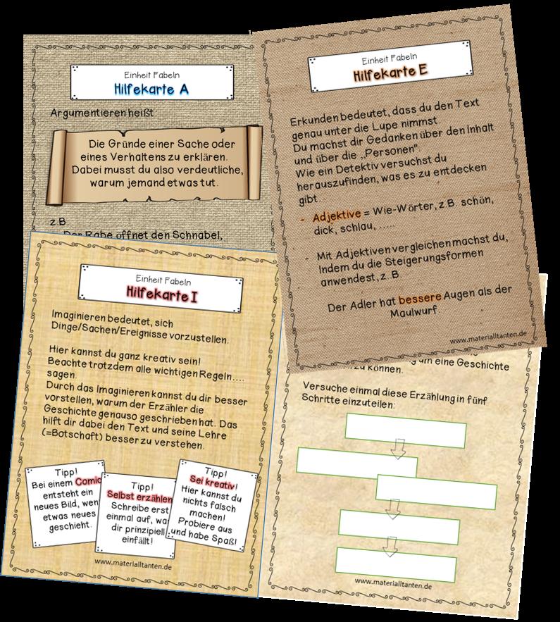 Hilfekarten unterstützen die Schüler im Deutschunterricht bei den ...