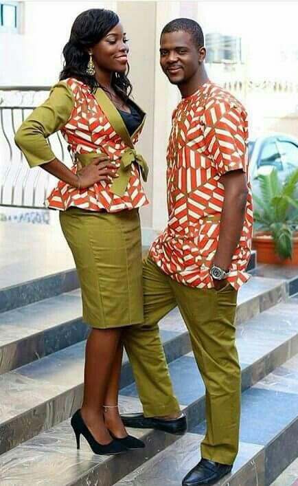 African fabric outfit for couples