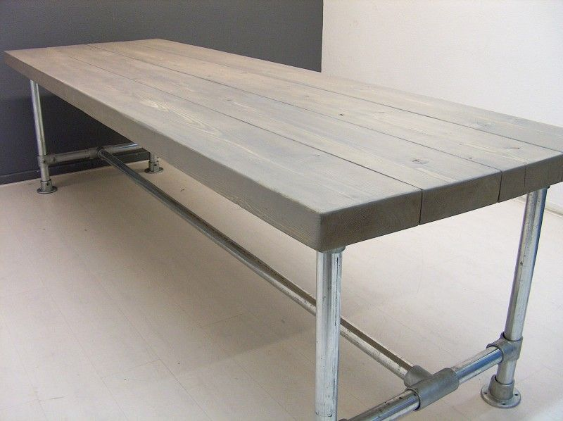 Long Pipe Table Made With Kee Klamp Fittings.
