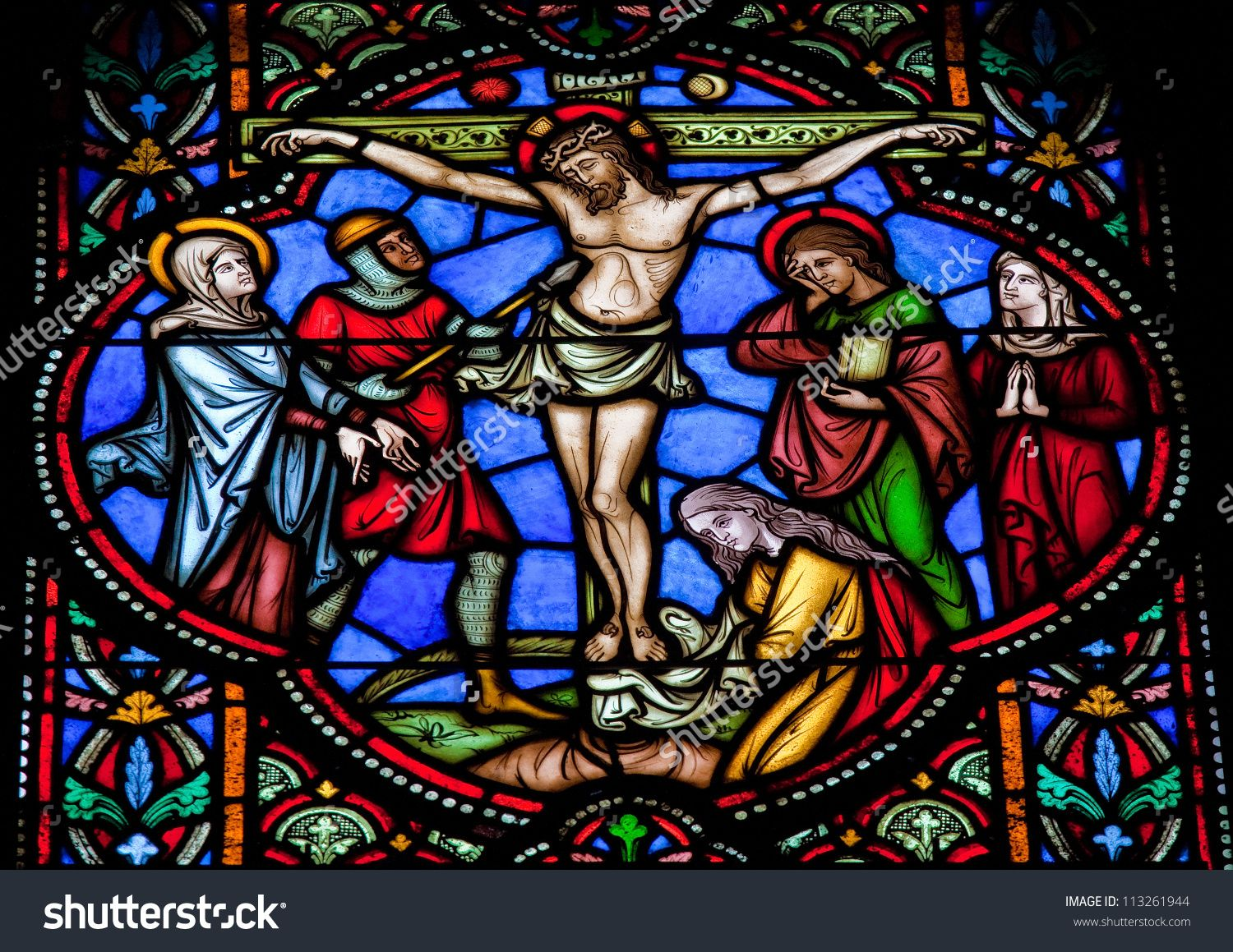 Stock Photo Brussels July Stained Glass Window Depicting