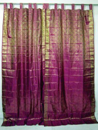 Amazoncom 2 India Sari Brocade Curtain Fuchsia Pink Gold Tab Top
