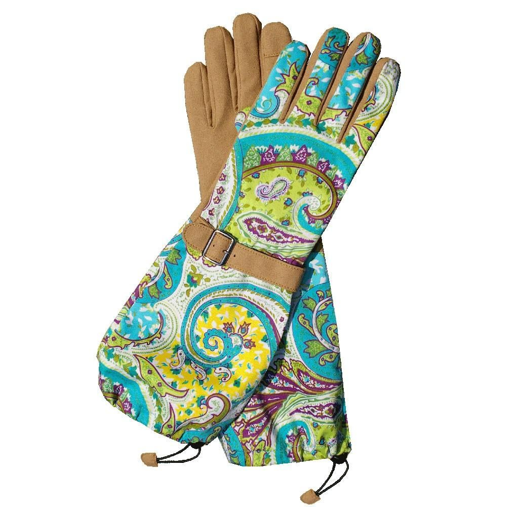 Womanswork Teal Paisley Garden Glove with Arm Saver 30