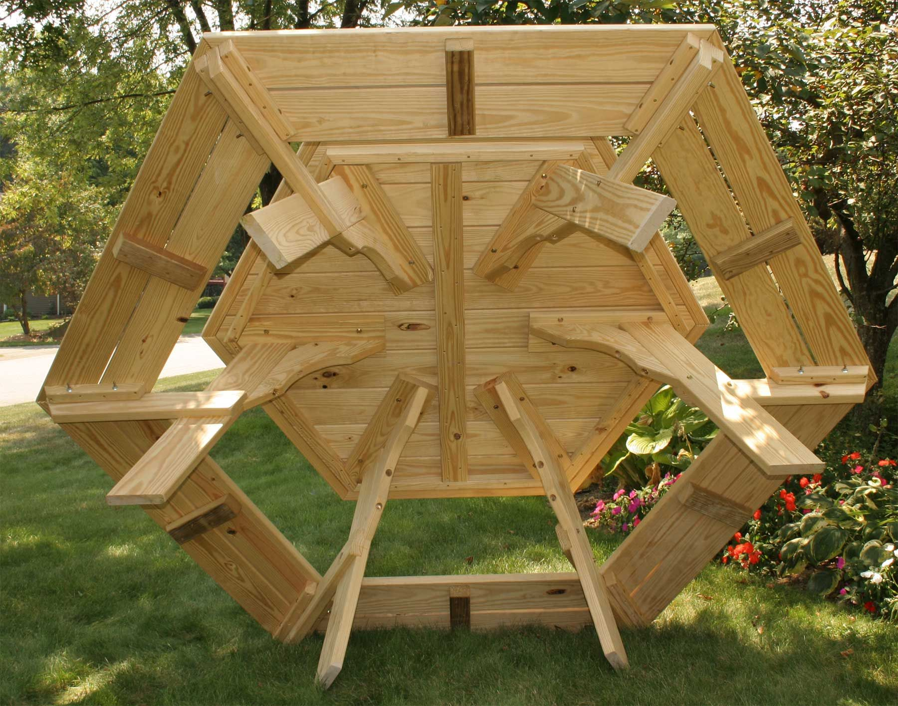 Hexagon Picnic Tables Treated Pine Hexagon Picnic Table With