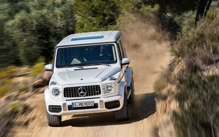 Download wallpapers Mercedes-AMG G63, 4k, offroad, 2019 cars, white