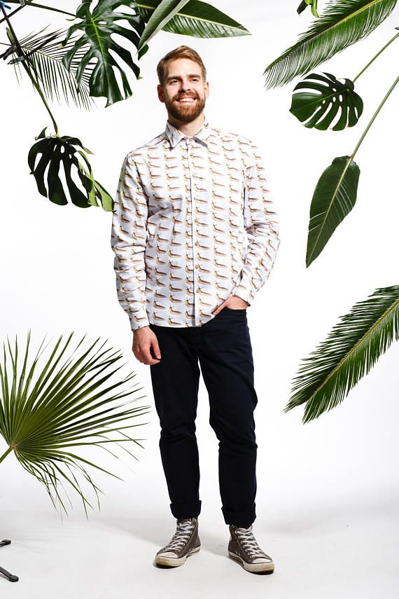 Handmade men's slug shirt, men's quirky shirt