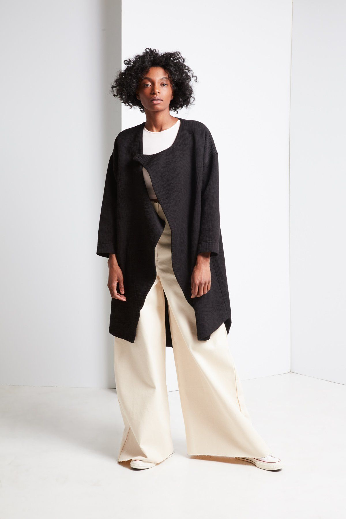 Black crane dual canvas coat black on designers we love