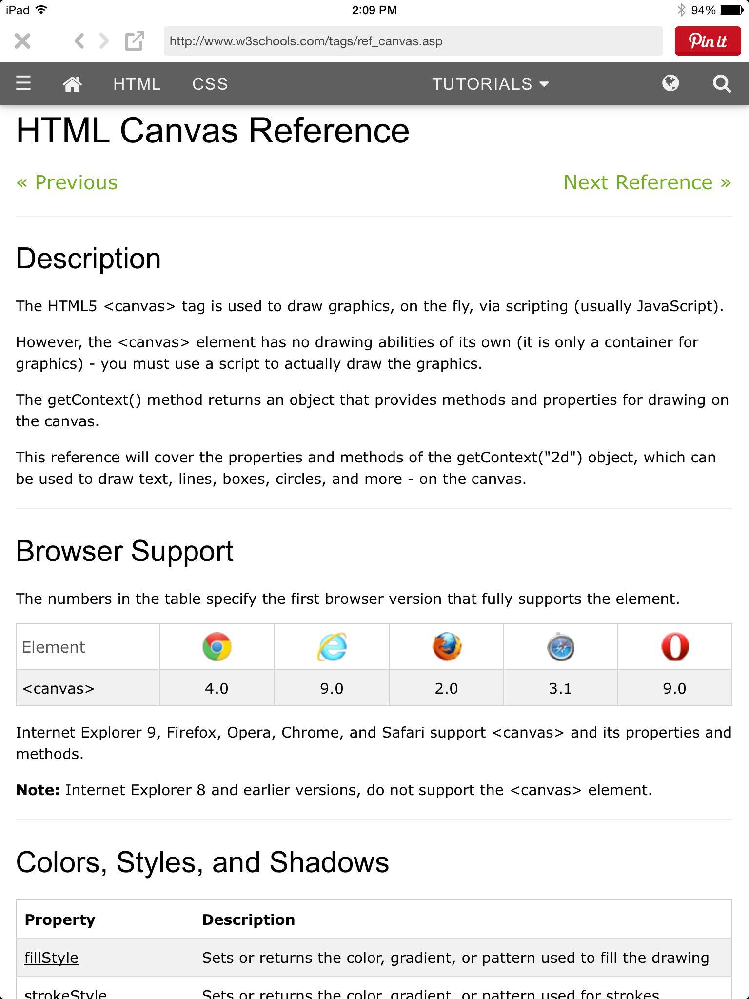Html Canvas Reference Httpw3schoolstagsrefcanvasp