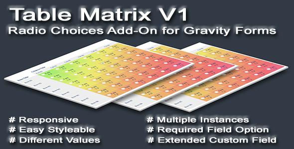 Radio Table Matrix For Gravity Forms Codecanyon Item For Sale Matrix Radio Website Layout